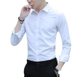 White Shirt Business-Dress Slim-Free Men's Long-Sleeved Work-To-Work Solid Professional