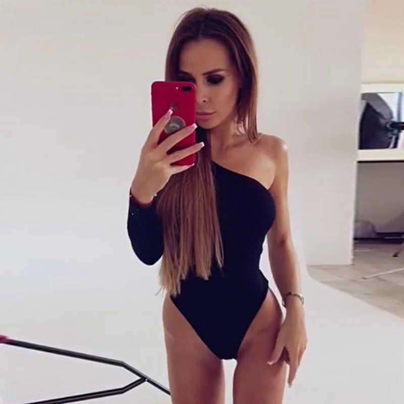 GAOKE siyah bir omuz temel Bodysuit kaburga örgü zarif kadınlar seksi sonbahar Bodysuits 2019 moda uzun kollu sıska Bodysuit