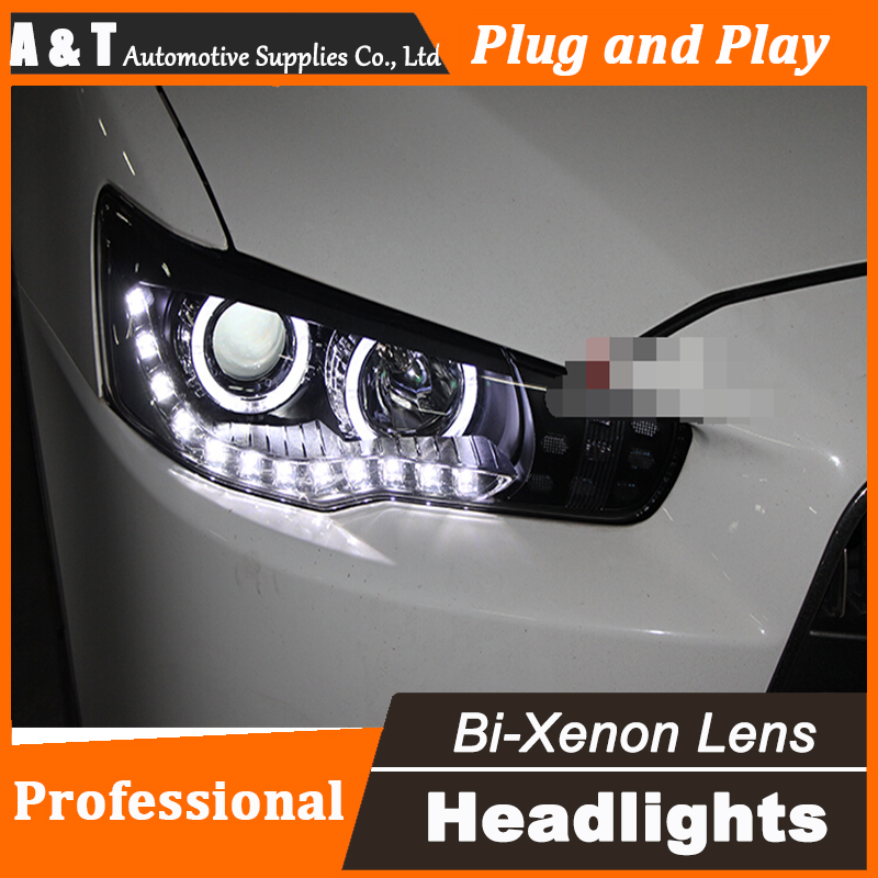 Car Styling for Mitsubishi Lancer EX Headlight assembly LED Headlight DRL Lens Lancer EX Double Beam H7 with hid kit 2 pcs. high quality car styling case for mitsubishi lancer ex 2009 2011 headlights led headlight drl lens double beam hid xenon