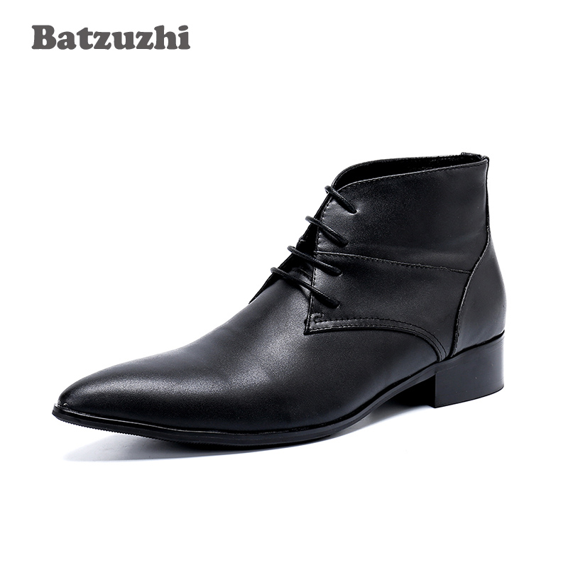 Genuína Batzuzhi Preto Lace Formal Hombre Senhores Japonês Couro Negócios Toe Boots Homens De Ankle Apontou Dos up 46 Tipo Botas rqCxHq0wnF