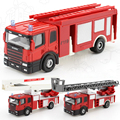 Fire Truck 1:64 Scale FireFighting Vehicle Fire Engine Ascend Fire Diecast Alloy Metal Pull Back Car Model Toy