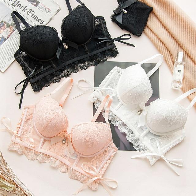 12191c9521 Wasteheart 2018 Women Fashion Lace Adjustable tie Straps Bralette Cotton Panties  Push Up Bra Sets Underwear