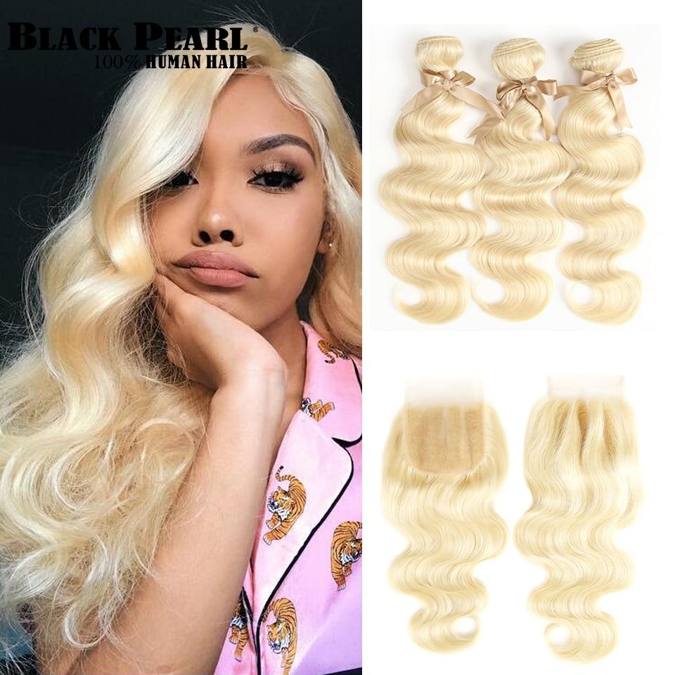 Black Pearl 613 Bundles With Closure 100g Pcs Brazilian Body Wave Remy Human Hair Weave Blonde