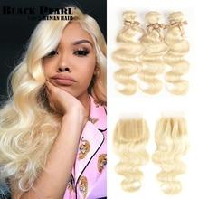 Tissage en lot naturel Body Wave brésilien avec Closure Black Pearl, cheveux Remy, blond 613, 100g/pièces