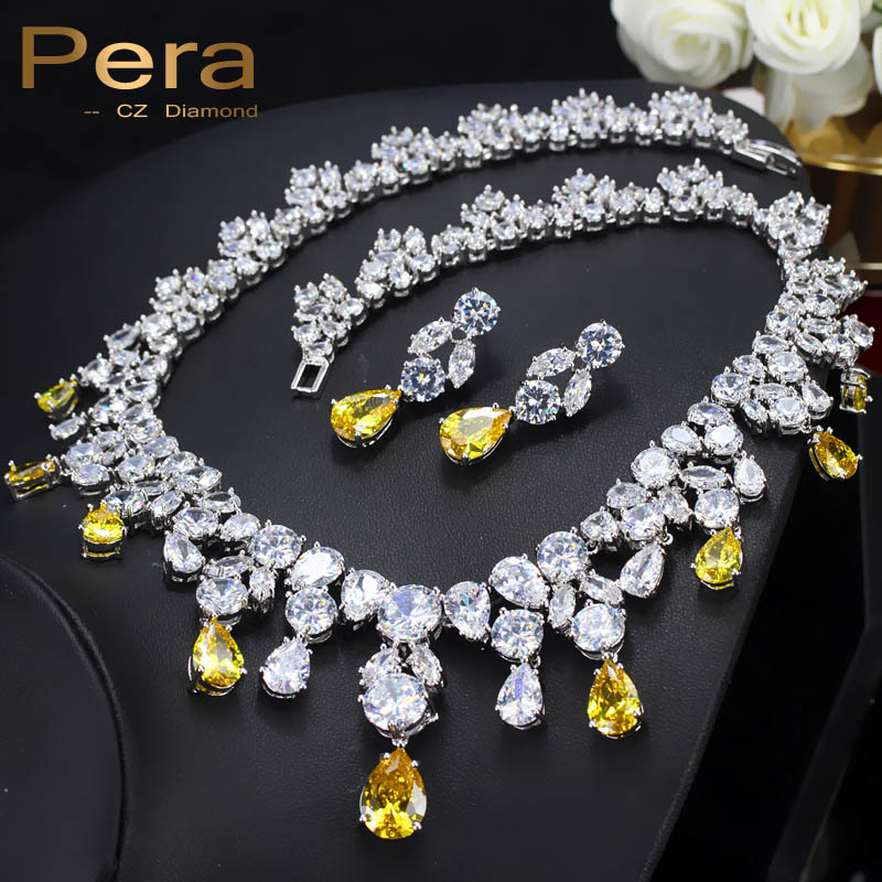 Pera Luxury Wedding Silver Color Jewelry Yellow Cubic Zirconia Big Pear Drop Women Statement Necklace And Earrings Sets J010 pera newest big vintage hollow out design yellow cubic zircon round drop pendant necklace and earrings set for luxury women j199