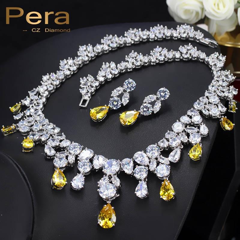 Pera lujo boda Color plata joyería amarillo Zirconia cúbica grande Pera gota mujeres declaración collar y pendientes conjuntos J050-in Conjuntos de joyería from Joyería y accesorios    1