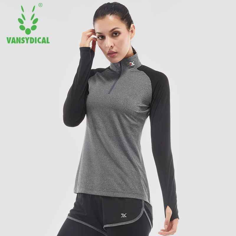 14627f6fac58a ... Women Yoga Shirts Long Sleeve Workout Tops Half Zipper Stand Collar  Fitness Running Gym Sport T ...