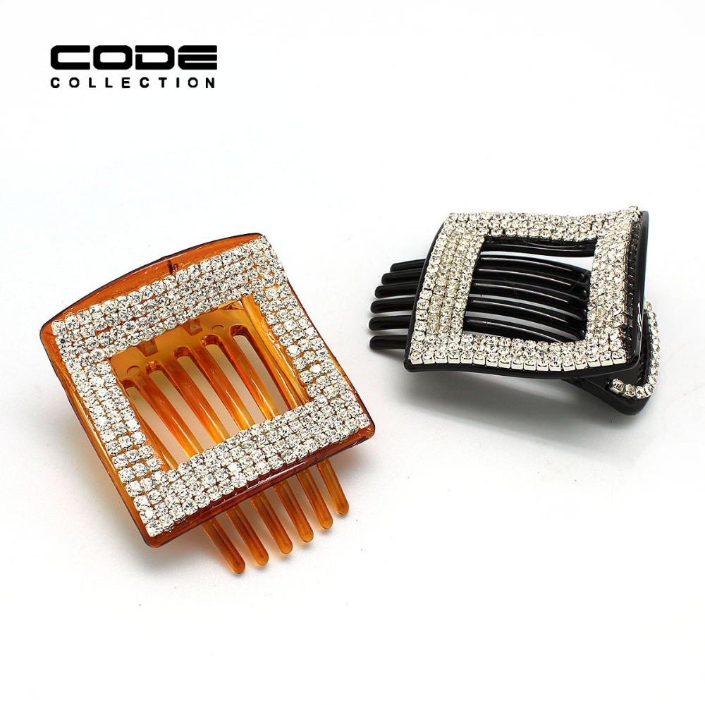 TOP Quality Hair Accessories Unique black/ Coffee Square Full Rhinestone Large Hair Claws Hairpins Hair Clip for women