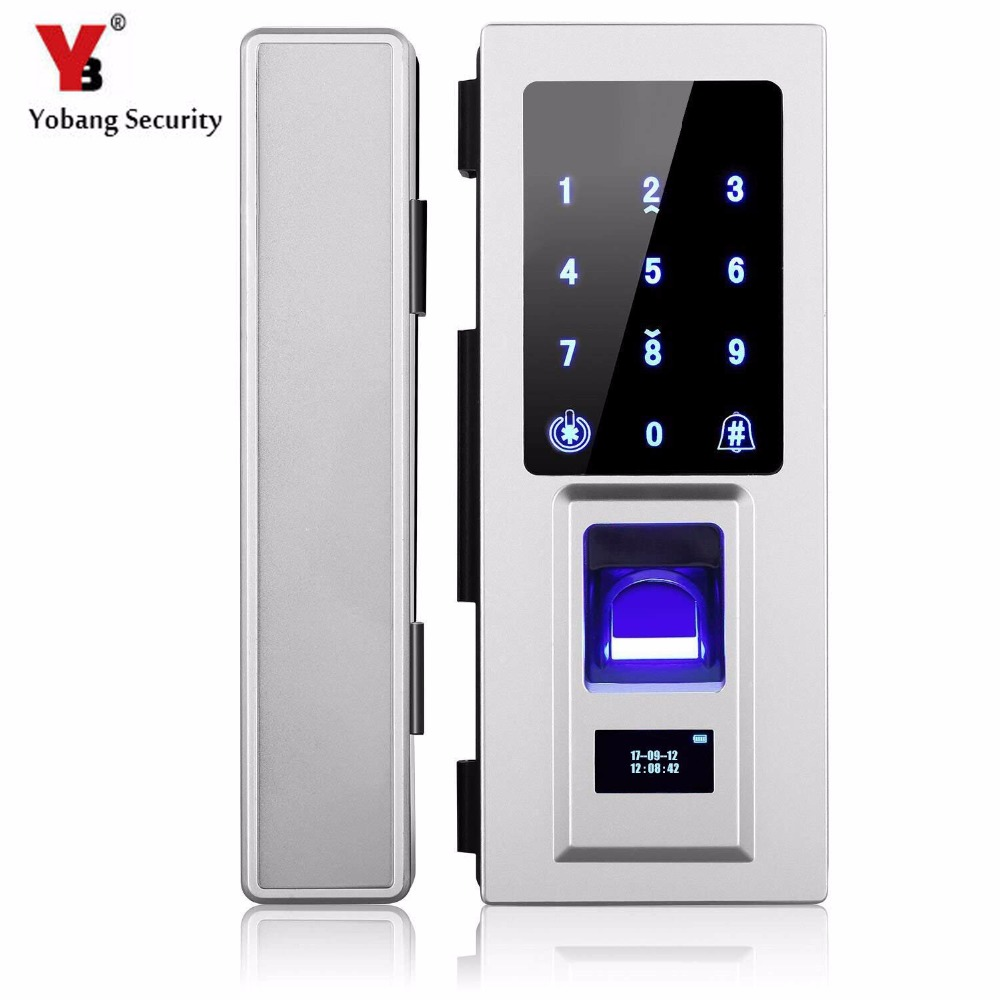 Glass Door Intelligent Electronic Door Lock Touch Screen Fingerprint /Password Code /RFID Card Keyless Latch smart Lock|Electric Lock| |  - title=