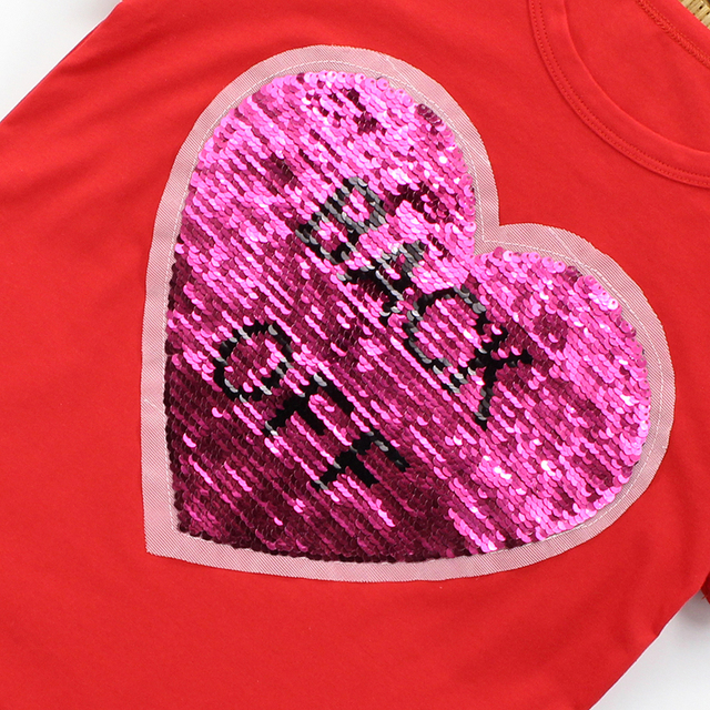 T-Shirts For Girls Sequins T Shirt Girls 2018 Autumn Kids Sequins T Shirt For Girls Teenage Children Shirts 6 8 11 10 12 14 Year