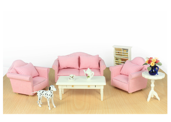 Online Shop G05 X379 Children Baby Gift Toy 1:12 Dollhouse Mini Furniture  Miniature Rement Living Room Pink Sofa Set 5pcs | Aliexpress Mobile