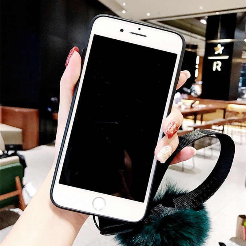 Marmer Beugel Haar Bal + Lanyard Case Voor Huawei P8 P9 P10 P20 P30 Nova 2 2 s 3 3i 3e 4 Lite Pro P Smart Plus Y9 2019 2018 Cover