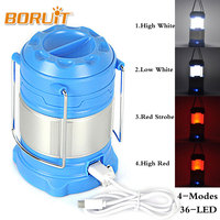 300 Lumens Outdoor Portable 21 LED USB Camping Lantern Tent Lights Red White Light 4Mode Hanging
