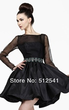 Long sleeves Mini cheap black Homecoming Dresses Top Sheer Sexy Open Back Crew Neck A Line Beads Satin yk-G310S black cutout details crew neck long sleeves sheer shirt