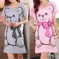 M-3XL Pink/Gray Big Bear Women Girl Sleepwear Pajama Nightwear Nightdress Sleepdress