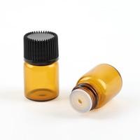 100PCs Empty Mini 2ml Amber Glass Liquid Pot Aromatherapy Essential Oil Bottle