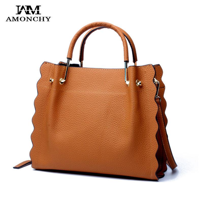 AMONCHY Brand Designer Tote Bags Women Genuine Leather Handbags Retro Natural Cow Leather Shoulder Messenger Bag Petal Shape Bag mattel mattel кукла ever after high отступники фарра гудфэйри
