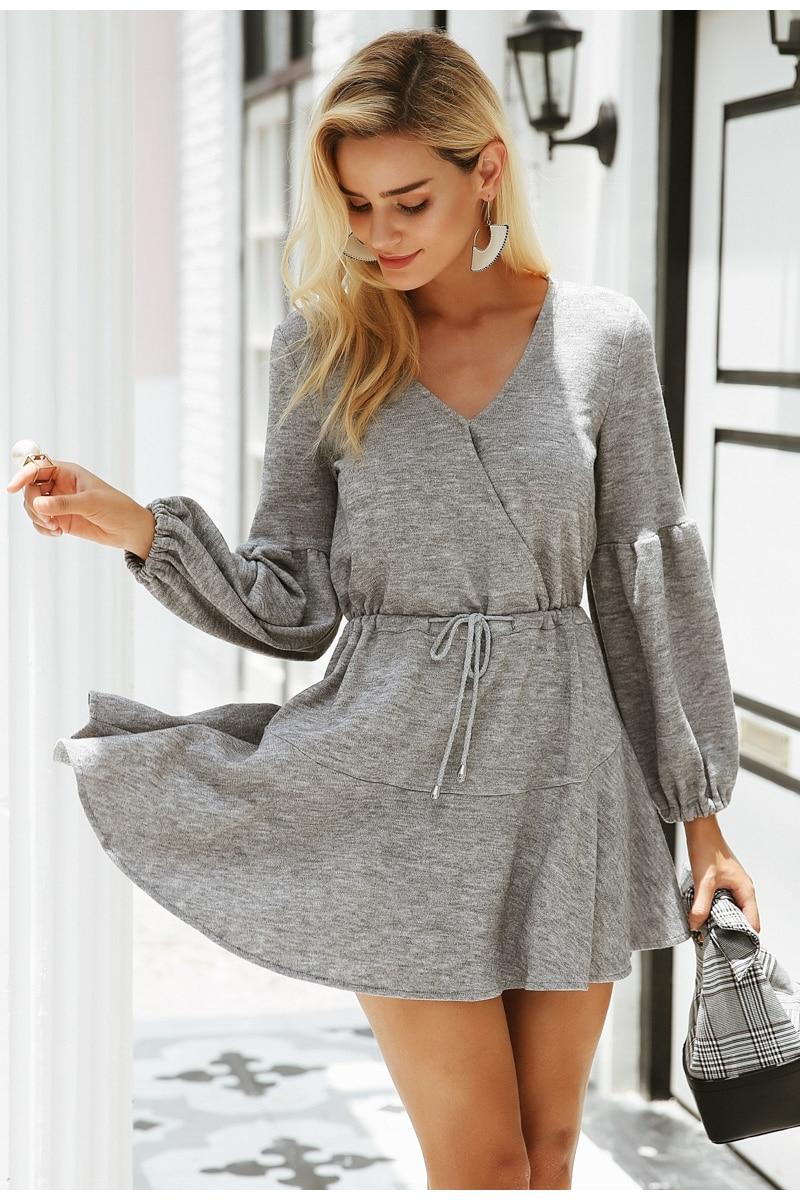 Simplee Latern sleeve knitted sweater dress women Sexy v neck autumn winter dress Loose white dress vestidos robe femme ete 2018