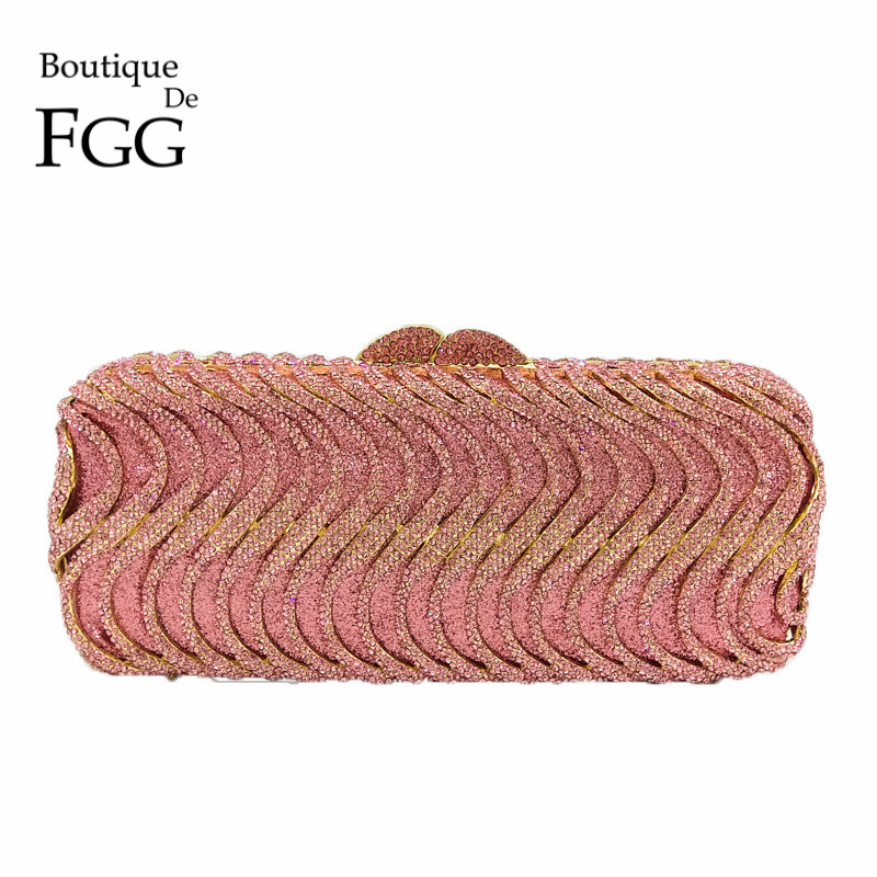 Boutique De FGG Pink Color Crystal Women Evening Purse Metal Diamond Mianudiere Handbag Bridal Clutch Wedding Party Bag