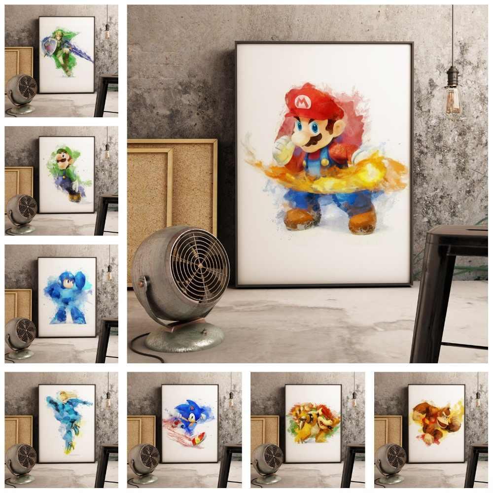 The Legend of Zelda Super Mario PS4 Gioco Nordic Decorazione di Arte Della Parete Della Tela di Canapa Del Fumetto di Arte Nordic Nursery Camera Dei Bambini della tela di canapa pittura
