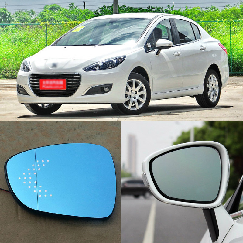 Brand New Car Rearview Mirror Blue Glasses LED Turning Signal Light with Heating For Peugeot 308 for volkswagen sagitar brand new car rearview mirror blue glasses led turning signal light with heating