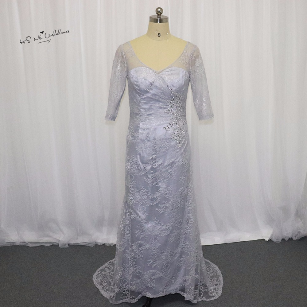 2017 Plus Size Grey Mermaid Mother of the Bride Lace Dresses V Neck ...