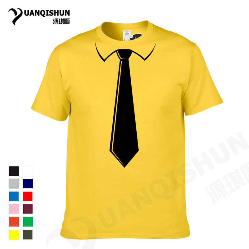 YUANQISHUN Brand Men's   T  -  shirts   College Style Fashion Simple Fake Tie Print Tuxedo Tee Tops Cotton Leisure Short Sleeves Tshirt