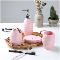 Bathroom set Ceramic Lovely Candy colored Nordic Simple Emulsion bottle Toothbrush Cup Soap dish Washing Cup Set Toilet Utensils