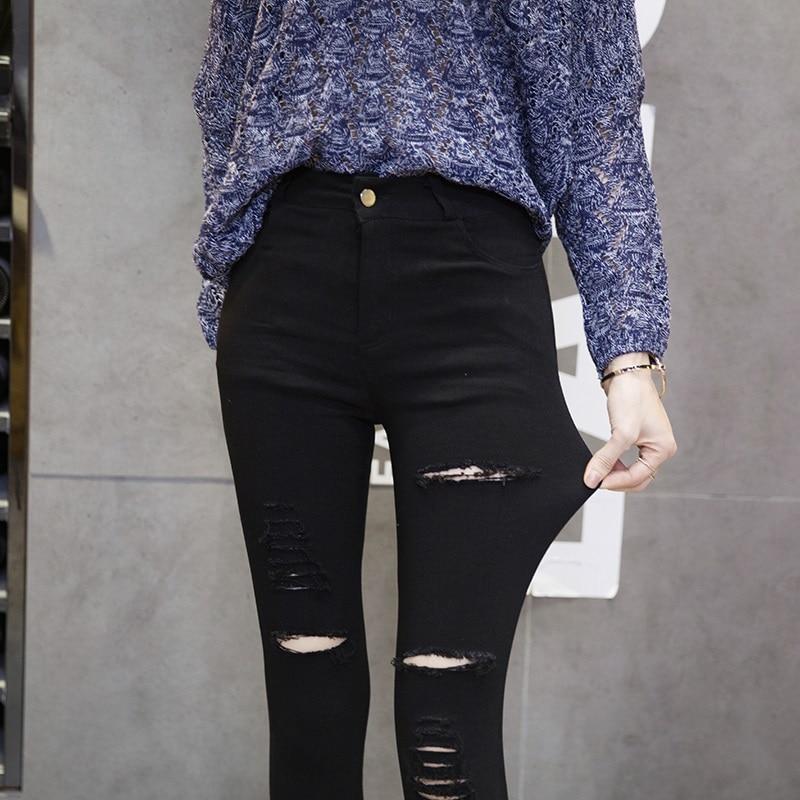 все цены на  2017 New Woman Spring Pencil Jeans For Women femme Fashion Black Slim Ankle-Length Jeans Ladies Women's Printed Denim Pants  в интернете