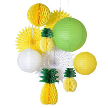 Tropical Summer Party Decoration Set (Yellow,Green)  Honeycomb Pineapple Paper Lantern/Fans/Balls Luau Hawaiian Backdrop