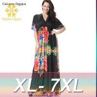 XL 7XL 6XL Plus size Women Fashion Print Dress Organza Retro V Neck Printing Sleeveless Women Dress Sexy Party Dresses vestidos