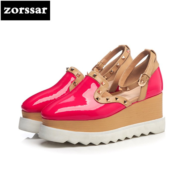 {Zorssar}2018 fashion rivets Patent leather womens shoes heels Round toe Wedges High heels pumps women Platform shoes size 33-41 zorssar autumn ladies shoes wedges high heels women platform pumps fashion genuine leather horse hair pointed toe womens shoes
