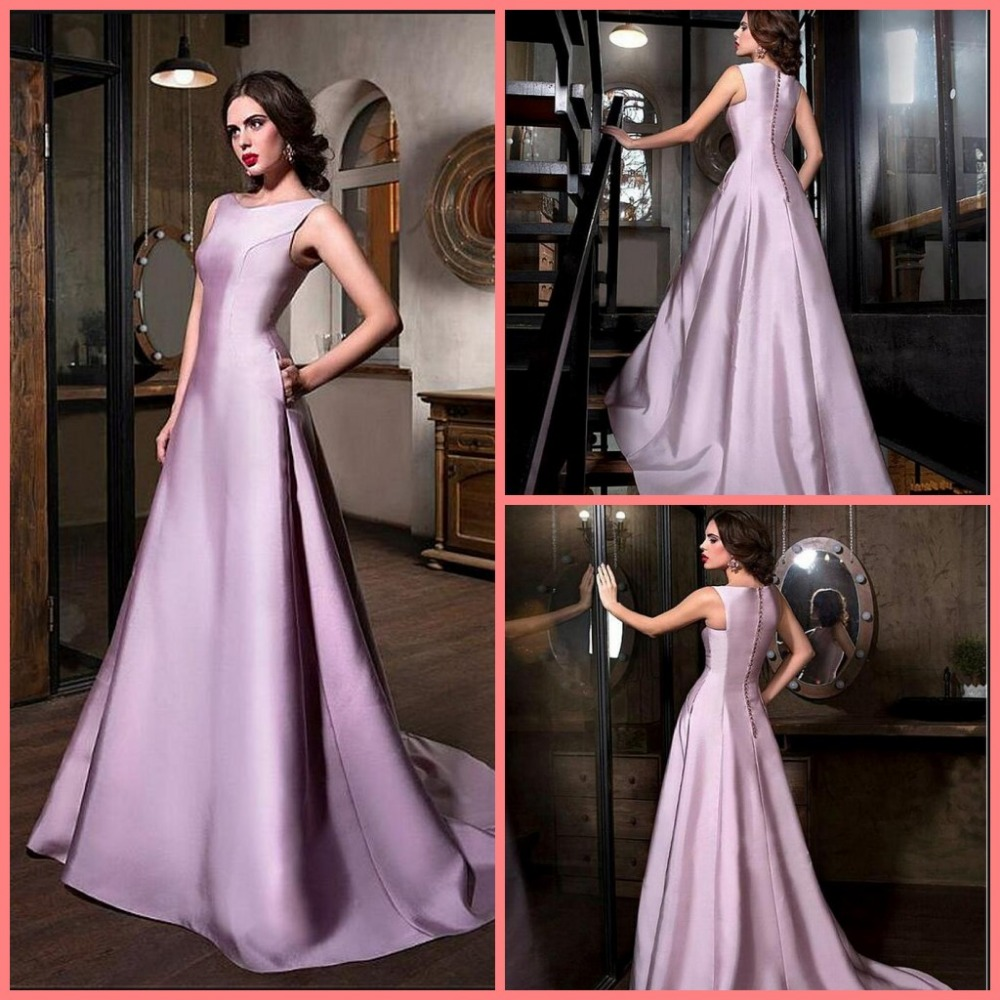 2016 New Arrival Lilac Satin Sleeveless Evening Dress Court Train Formal Evening Gowns Elegant Vintage Women Evening Dresses