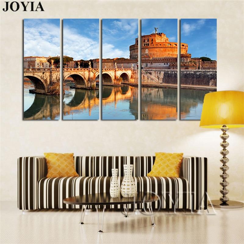 ᗗGran arte de la lona Roma Castel sant\'angelo pared Pictures ciudad ...