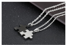 2pcs Set Stainless Steel Puzzle Piece Pendant Lovers Couple Love Necklace Valentine's Day Gifts for Women Men