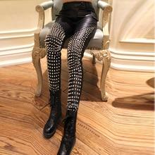 2016 female slim leather rivet trouers sexy American digital printing female Leggings mechanical skeleton skull  stretch pants