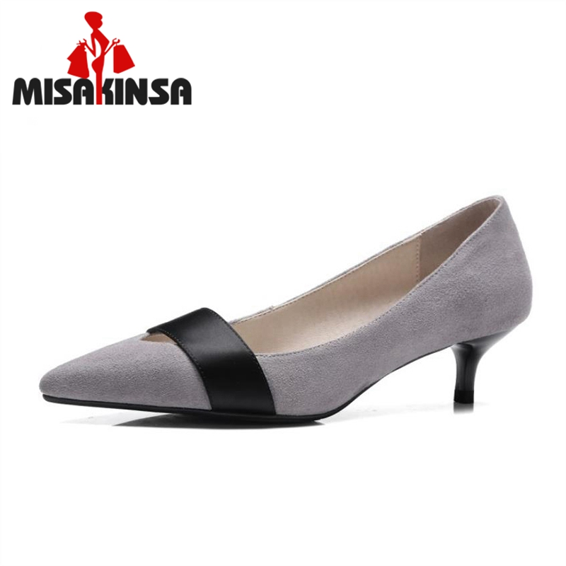 MISAKINSALadies Real Leather Med Heels Pumps Female Sexy Pointed Toe Slip On Shoes Women Elastic Band Office Footwear Size 33-41 ladies real leather pumps shoes women pointed toe cross strap gladiator shoes fiork nude color sexy female footwear size 34 40