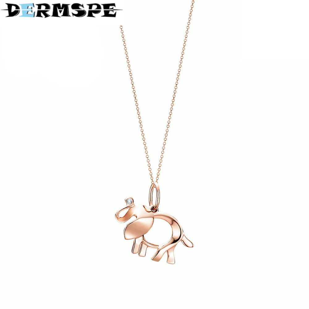 DERMSPE TIFF 925 Sterling Silver 45CM The elephant pendant necklace Pendants & Necklaces Women Jewelry Free Package Mail цены