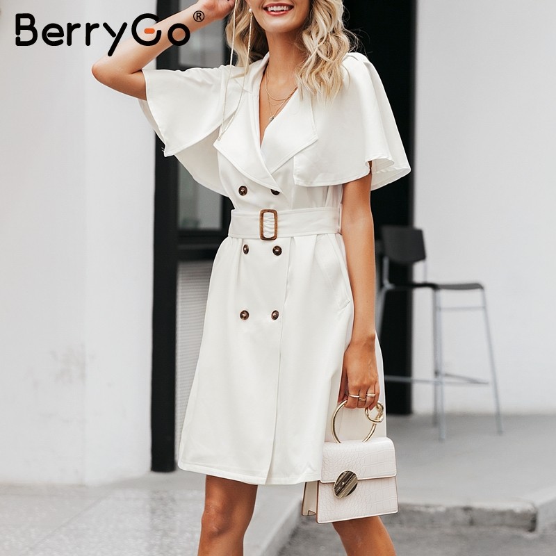 Image 3 - BerryGo White buttons women blazer dress Elegant ruffled sleeve  sash belt office ladies trench dress V neck shawl party  vestidosDresses