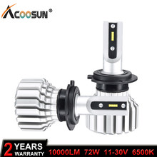 AcooSun LED H4 Car Bulb 6500K H7 LED Headlight Fanless 12V 24VAuto Lamp H15 72W CSP Chip H11 Fog Lamp 9005 9006 H3 H1 All-in-one(China)