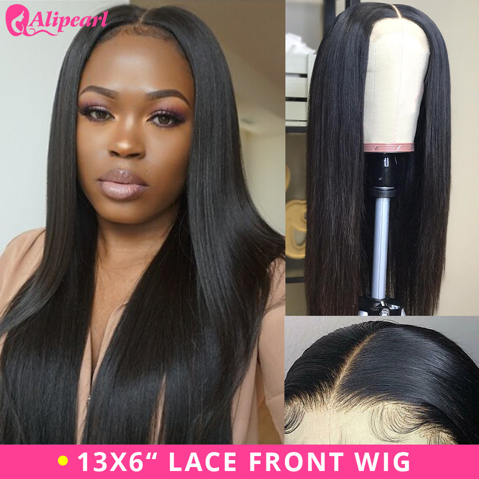 13x6 Lace Front Human Hair Wigs Ple Plucked For Black Women 130% 180% 250% Density Remy Brazilian Straight Ali Pearl Lace Wigs Hair Extensions & Wigs