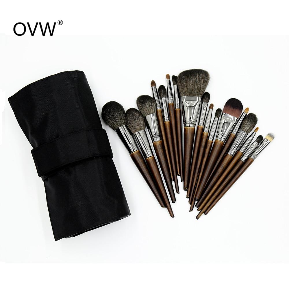 OVW Make Up Brush Bamboo Nylon Foundation Blush Eye Shadow Concealer Makeup Brushes Set Tools With Cosmetic Portable Bag