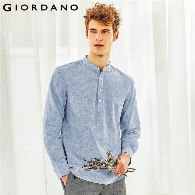 Kính mắt Giordano Nam Áo Sơ Mi Nam Vải Lanh Cotton Chất Liệu Vải Tự Nhiên Nửa Túi Nút Áo Sơ Mi Nam Tay Dài Cổ Đứng Tròn Viền Camisa