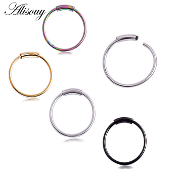 Alisouy Hinged Clicker Seamless Piercing Nose Ring Hoop Lip Ear Ring Body Jewelry 4