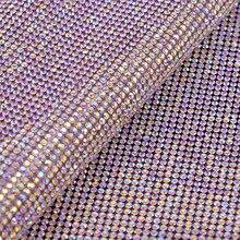 JUNAO 24*40 см Горячая фиксация кристалла AB стекло стразы на сетчатой основе отделка кристалл лист ткани Strass аппликации полоса для DIY ювелирное платье