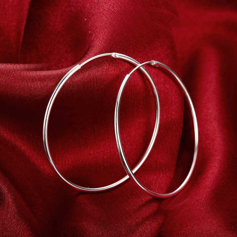Diameter 5CM Elegant Circular Smooth Hoop Earrings For Women 2018 Promotion  Fashion Silver Plated Brinco De Argola Jewelry