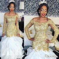 Сексуальная юбка Русалка больших размеров Африканские свадебные платья белые золотистые кружевные аппликации 2019 с длинным рукавом из бисе