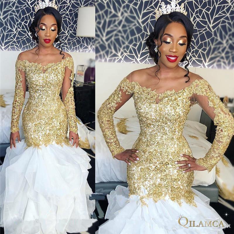 Vestidos de novia africanos de sirena de talla grande sexys con apliques de encaje de oro blanco 2019 de manga larga con cuentas vestidos de novia árabes