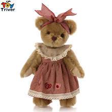 лучшая цена 30cm Retro Teddy Bear with Skirt Plush Toys Joint Bears Stuffed Appease Dolls Baby Kids Children Birthday Wedding Quality Gift