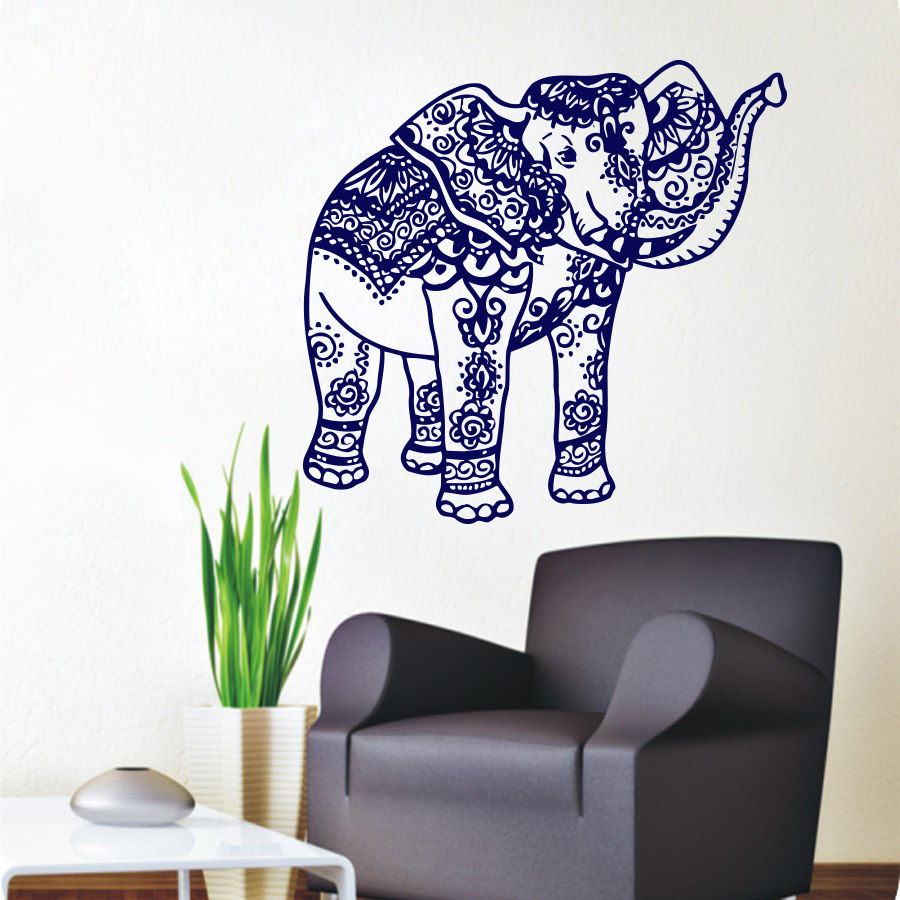 22X23inch Removable Wall Stickers Elephant Wall Decal Indian Vinyl ...